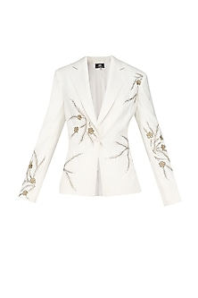 Ivory Glistening Wildflower Embroidered Blazer by Bhaavya Bhatnagar