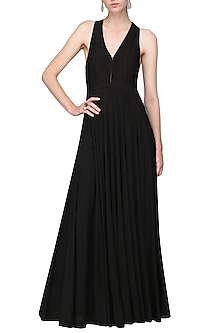Black Pleated Jersey Gown by Bhaavya Bhatnagar