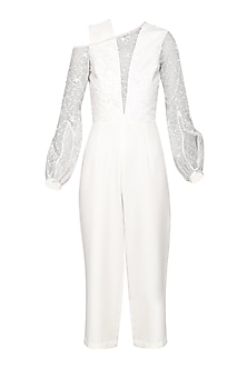 Ivory Embroidered Culotte Jumpsuit by Bhaavya Bhatnagar