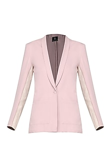 Ash Pink Faux Leather Insert Blazer by Bhaavya Bhatnagar