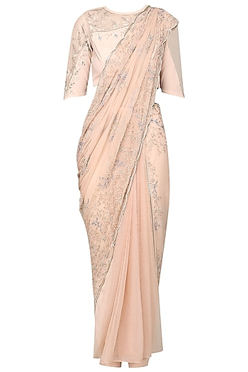 Ash Pink Embroidered Pre-Stitched Saree with Blouse and Pants by Bhaavya Bhatnagar