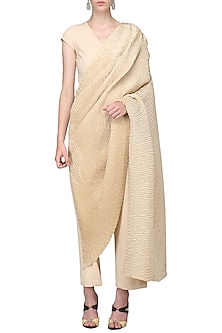 Champagne Beige Draped Pleats Jumpsuit by Bhaavya Bhatnagar