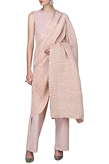 Ash Pink Draped Pleats Jumpsuit by Bhaavya Bhatnagar