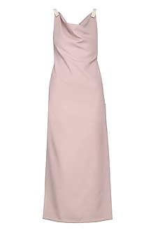 Ash Pink Sculpt Maxi Dress by Bhaavya Bhatnagar