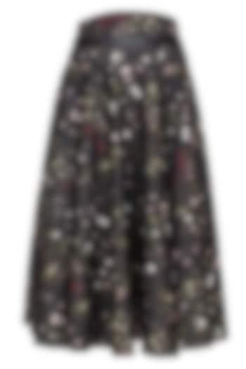 Black, Bottle Green, White and Wine Kiem Printed Skirt with Leather Belt by Bhaavya Bhatnagar