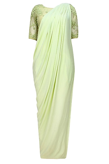Lime green floral beads embroidered three piece concept draped saree set by Bhaavya Bhatnagar