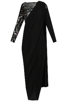 Black Embroidered Drape Saree Set by Bhaavya Bhatnagar