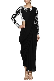 Black Pre-Stitched Drape Saree with  Beaded Crop Top Set by Bhaavya Bhatnagar