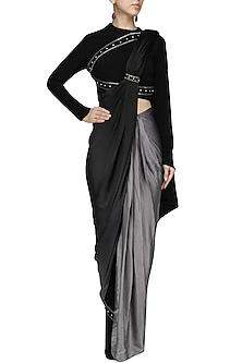 Black Ombred Drape Saree with  Structured Crop Top Set by Bhaavya Bhatnagar