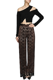 Bronze and Black Cutwork High Waisted Trousers by Bhaavya Bhatnagar