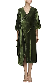 Olive Velvet Robe Dress by Bhaavya Bhatnagar