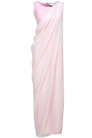 Blush pink embroidered jumpsuit with drape by Bhaavya Bhatnagar