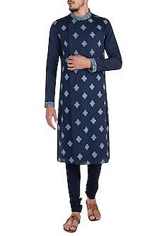 Sapphire blue embroidered kurta set by Bubber Couture