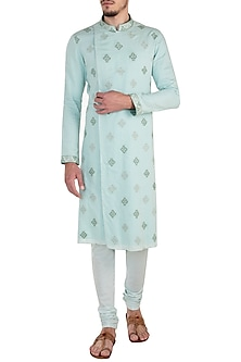Mint Green Embroidered Kurta Set by Bubber Couture