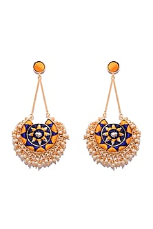 Matte Gold Finish Embroidered Moon Earrings With Long Chain by Bauble Bazaar