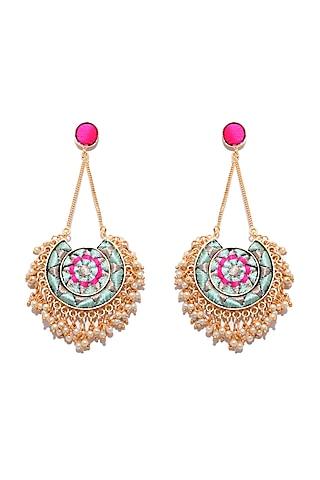 Matte Gold Finish Long Chain Earrings by Bauble Bazaar