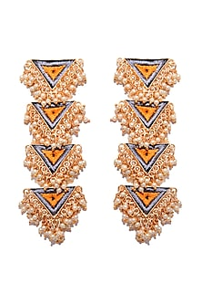 Matte Gold Finish Layered Embroidered Long Earrings by Bauble Bazaar
