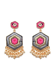Matte Gold Finish Hexagon Earrings by Bauble Bazaar