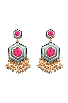 Matte Gold Finish Embroidered Hexagon Earrings by Bauble Bazaar