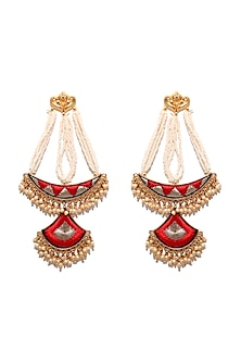 Matte Gold Finish Long Chand Earrings by Bauble Bazaar