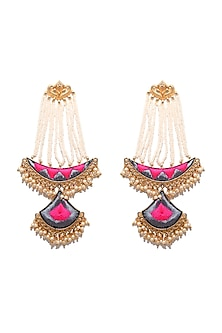 Matte Gold Finish Embroidered Long Chand Earrings by Bauble Bazaar