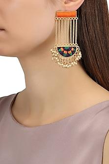 Matte Finish Semi Circle Dangler Earrings by Bauble Bazaar