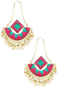 Matte Finish Two Toned Dangler Earrings by Bauble Bazaar