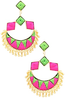 Matte Finish Silk Thread And Trinklets Earrings by Bauble Bazaar