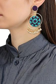 Matte Finish Circular Three Toned Earrings by Bauble Bazaar