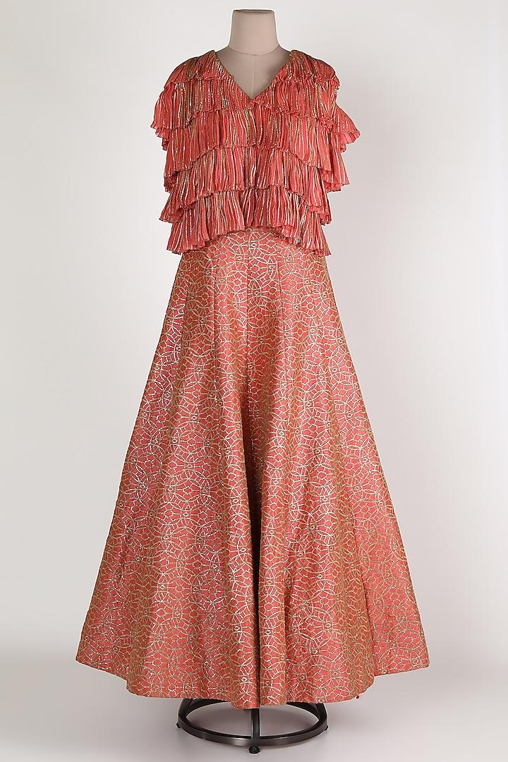 Rose Gold Ruffled Skirt Set by Abha Choudhary