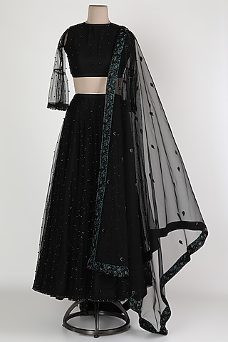 Black Embellished Skirt Set by Abha Choudhary