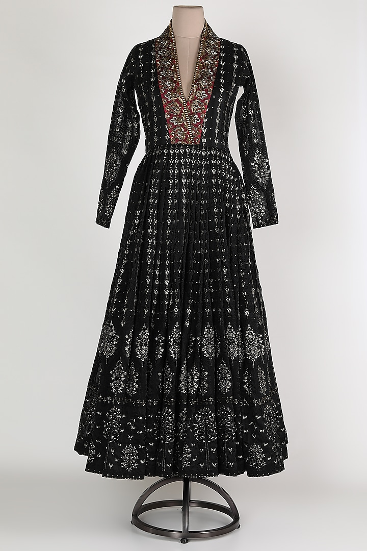 Black & Pink Embellished Anarkali by Abha Choudhary