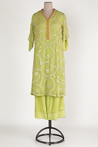 Mint Green Embroidered Kurta Set by Abha Choudhary