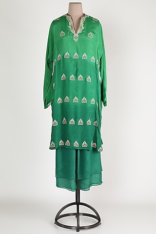 Forest Green Ombre Kurta Set by Abha Choudhary