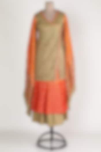 Orange & Beige Embroidered Sharara Set by Abha Choudhary