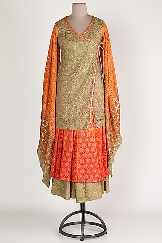 Orange & Beige Embroidered Sharara Set by Abha Choudhary