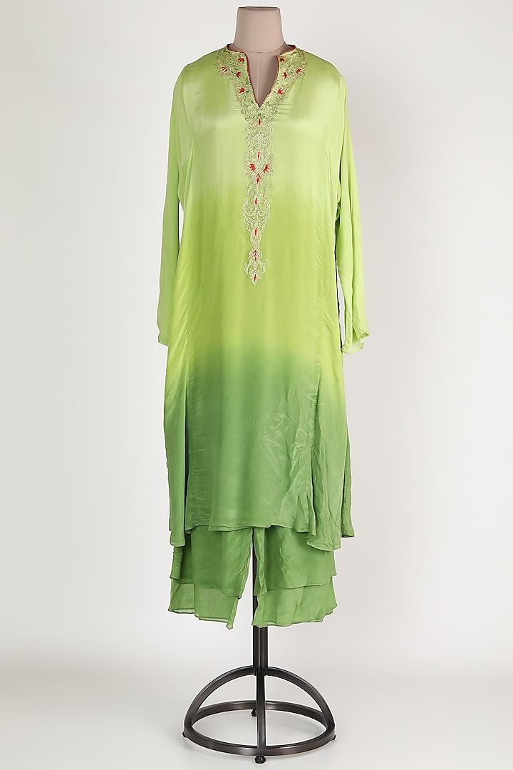 Mint Green Ombre Chiffon Kurta Set by Abha Choudhary