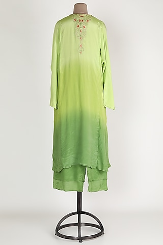 Mint Green Ombre Chiffon Kurta Set by Abha Choudhary