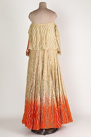 Gold & Orange Embroidery Lehenga Set by Abha Choudhary