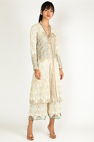 Cream & Golden Embroidered Kurta Set by Abha Choudhary