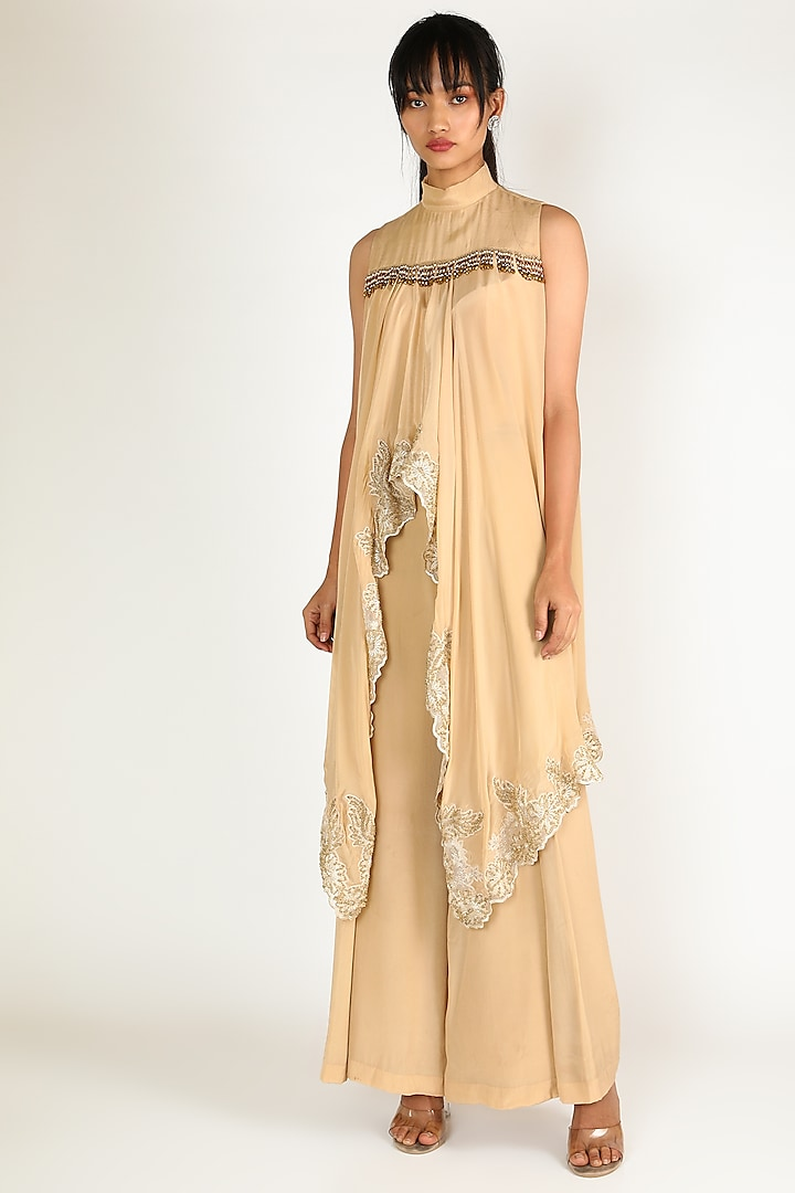 Beige Embroidered Pant Set by Abha Choudhary