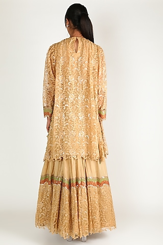 Dark Beige Embroidered Kurta Set by Abha Choudhary