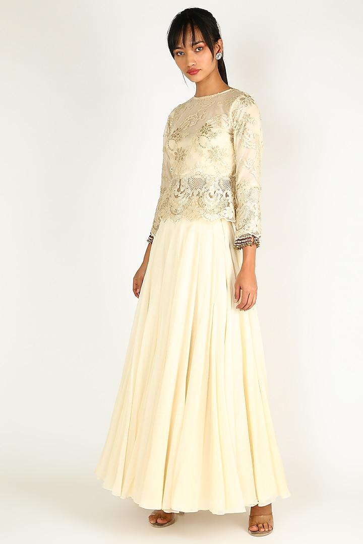 Cream Georgette Mesh Skirt Set by Abha Choudhary