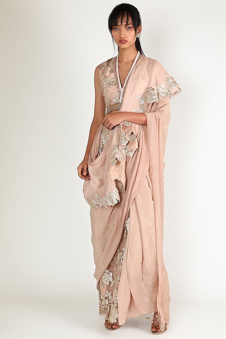 Peach Ruffled Saree Set by Abha Choudhary