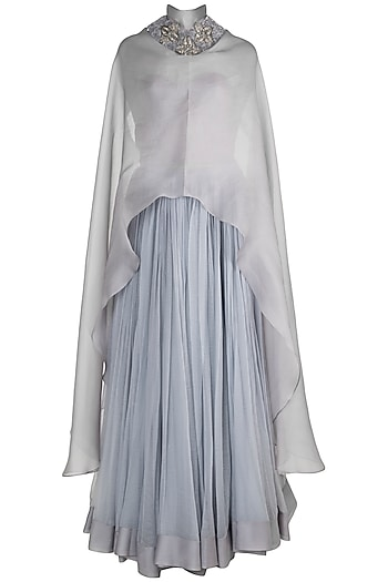 Grey Embroidered Long Cape With Corset & Skirt by Abha Choudhary