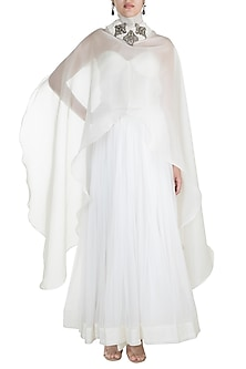 Pearl White Embroidered Long Cape With Corset & Skirt by Abha Choudhary