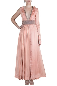 Blush Pink Embroidered Anarkali With Belt by Abha Choudhary