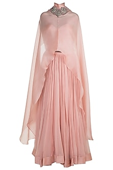 Blush Pink Embroidered Long Cape With Corset & Skirt by Abha Choudhary