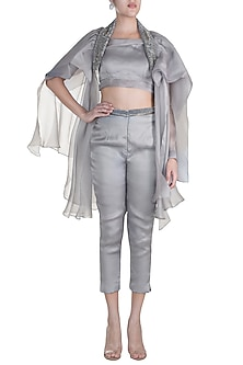 Grey Embroidered One Shoulder Top With Pants & Shoulder Throw by Abha Choudhary