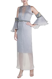 Grey Embroidered Dress With Wrap Skirt by Abha Choudhary